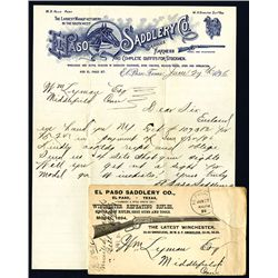 El Paso Saddlery Co., 1894 Letter Head and Envelope.