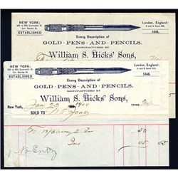 William S Hicks' Sons, 1900 Pen Related Bill Head.