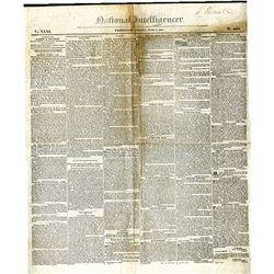 National Intelligencer, 1830's Newspaper from Washington, D.C.