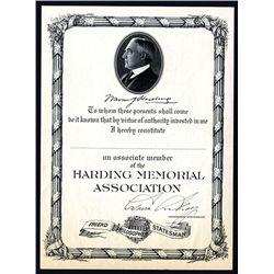 Harding Memorial Association, Associate Member Certificate.