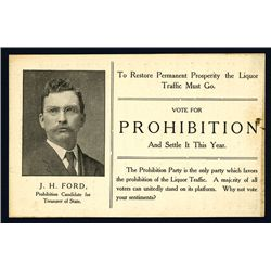 Prohibition Party Campaign Card, 1908.