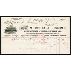 Murphy & Liscomb, Manufacturers of Sperm and Whale Oils Letter or Bill Head.