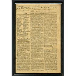 Framed Connecticut Gazette Vol.XX Number 1010, March 21, 1783.