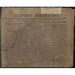 Hampden Federalist, September 10th, 1812, Newspaper With War of 1812 Content.