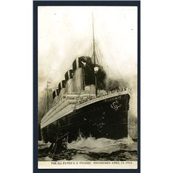 S.S. Titanic Memorial Postcard, Real Photo of Titanic Painting, Ca. 1912-13.