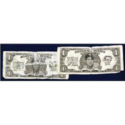 Baseball Bucks Pair, Souvenir Paper Money Facsimiles With Baseball Player portrait.