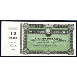 Banco De Londres y Rio de la Plata, 1866 Issue Unmarked Specimen.