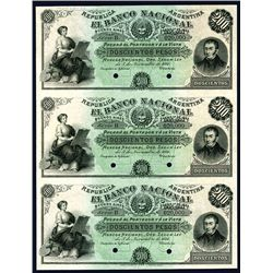 Banco Nacional, 1881 Issue Specimen Uncut Sheet of 3 notes.