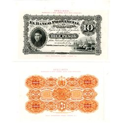 Banco Provincial de Cordoba, 1881 Issue Presentation Proof Face & Back.