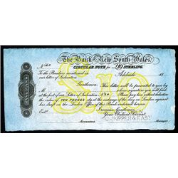 Bank of New South Wales, 1870-90's Circular Note Specimen.