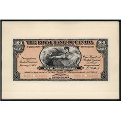 Royal Bank of Canada, 1920 British Guiana Branch, Proof Banknote
