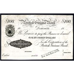 British Guiana Bank, 1860-1890's Unlisted Proof Banknote.