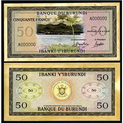 Banque Du Burundi, Unique Banknote Models with Original Artwork.