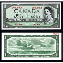 "Bank of Canada 1954 $1 ""Devil's Face Hairdo"" Issue Specimen"