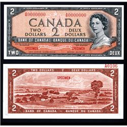 "Bank of Canada 1954 $2 ""Devil's Face Hairdo"" Issue Specimen"