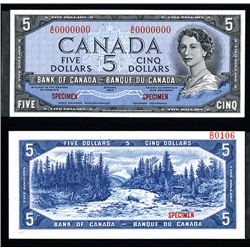 "Bank of Canada 1954 $5 ""Devil's Face Hairdo"" Issue Specimen"