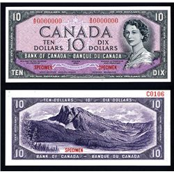 "Bank of Canada 1954 $10 ""Devil's Face Hairdo"" Issue Specimen"