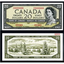 "Bank of Canada 1954 $20 ""Devil's Face Hairdo"" Issue Specimen"