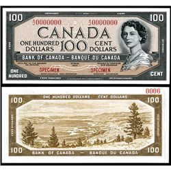 "Bank of Canada 1954 $100 ""Devil's Face Hairdo"" Issue Specimen"