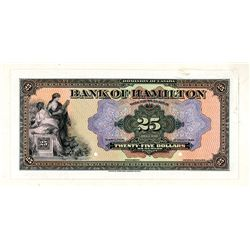 Bank of Hamilton, 1922 Jubilee Issue $25 Proof Face.
