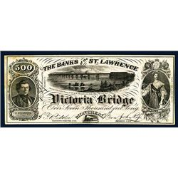 Banks of the St. Lawrence - Victoria Bridge Advertising Obsolete Banknote.