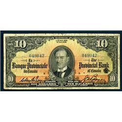 Banque Provinciale du Canada, 1936 Issue Banknote.