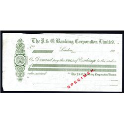 P. & O. Banking Corporation Limited, ca. 1920's Specimen Sola of Exchange.