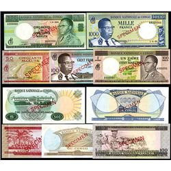 Banque Nationale Du Congo, 1964 to 1970 Specimen Banknote Group of 5.