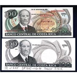 Banco Central De Costa Rica 1980-90's Proof and Specimen Pair.