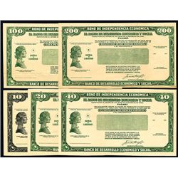 Banco De Desarrollo Economico y Social, 1955 Proof Set of 5 Savings Bonds.