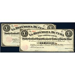 La Republica De Cuba, 1869 Junta Central Republicano Cuba y Puerto Rico Lot of 2 Banknotes.