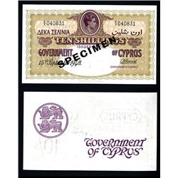 Government of Cyprus, 1937-39 Issue Specimen.