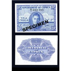 Government of Cyprus, 1943 Regular Issue Specimen.