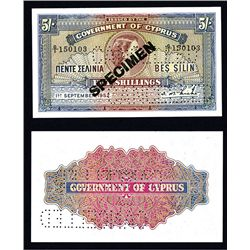 Government of Cyprus, 1952-53 Issue Specimen.