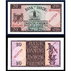 Bank of Danzig, 1932 Issue Specimen Banknote.