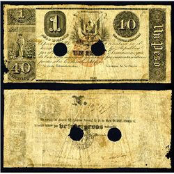 Republica Dominica - Spanish Administration, 1848 Provisional Issue Banknote.
