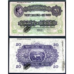East African Currency Board, 1938-52 Issue Color Trial Banknote.