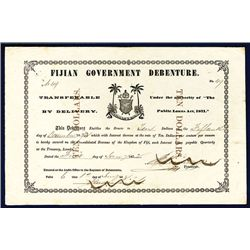 """Fijian Government Debenture, 1872 Issue Without Printed """"No."""" on Upper Left & Right."""