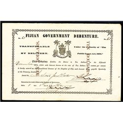 """Fijian Government Debenture, 1872 Issue with Printed """"No."""" on Upper Left & Right"""