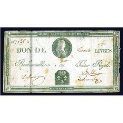 Armee Catholique Et Royale de Bretagne, ND (Nov. 1793?) Issue Banknote.