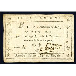 Armee Catholique Et Royale, ND (1794) Issue Banknote.