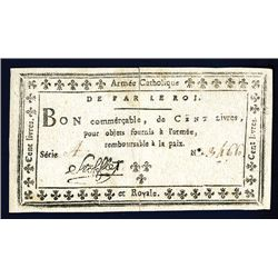 Armee Catholique Et Royale, ND (Nov. 1793) Issue Banknote.