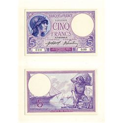 Banque De France 1937-39 Issue Essay Proof Banknote.