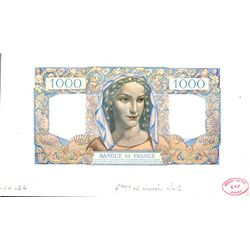 Banque De France 1944 Issue Essay Proof Banknote.