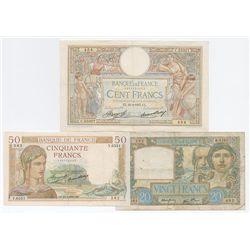 Banque de France, 1937-41 Issue Banknote Trio.