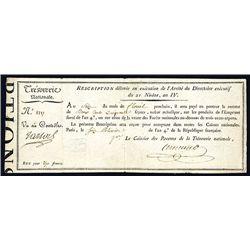 Rescriptions De L'Emprunt Force, 1796 Issue Banknote.