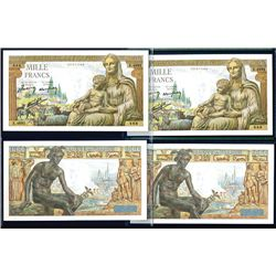 """Banque de France, 1942-44 Issue Banknote Pair, One With """"888""""Serial Number."""