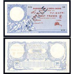Banque De L'Indochine, 1921 Issue Banknote.