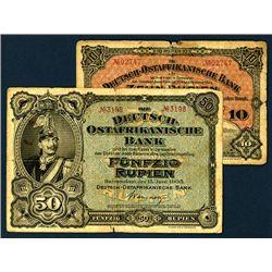 Deutsch-Ostafrikanische Bank, 1905 Issue Banknote Pair.
