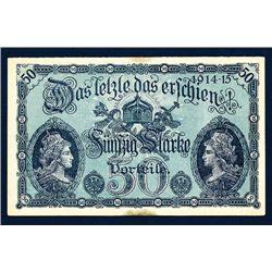 German 1914015 WW I Satirical Banknote Look-a-Like.